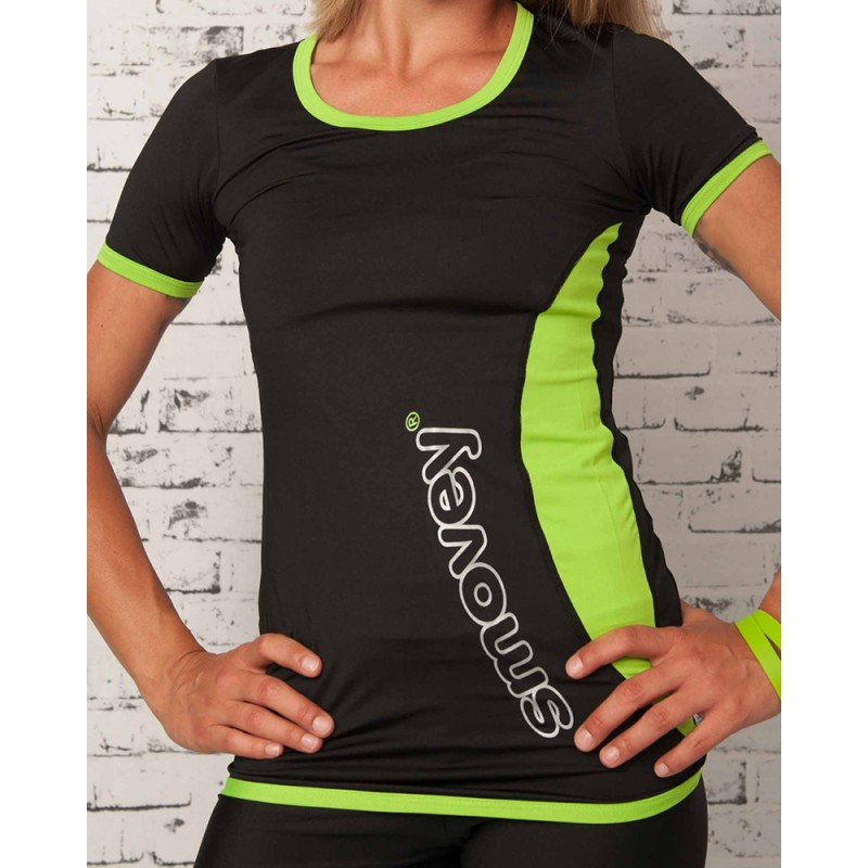 FITNESS SHIRT - BLACK-GREEN | women | S