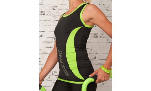 FITNESS TOP - BLACK-GREEN | women
