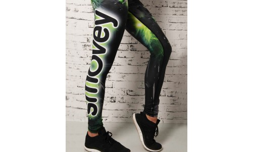 FITNESS PANTS - Green Crystal Camouflage | women